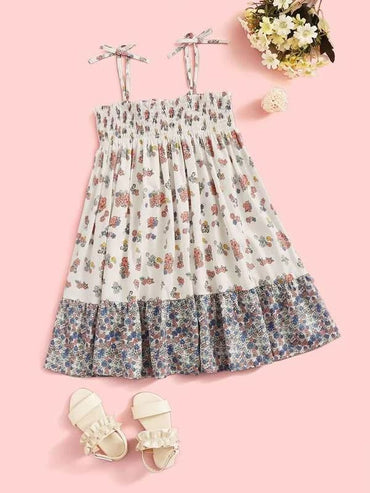 Girls Knot Shoulder Shirred Detail Floral Dress