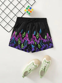Girls Knot Waist Fire Print Shorts