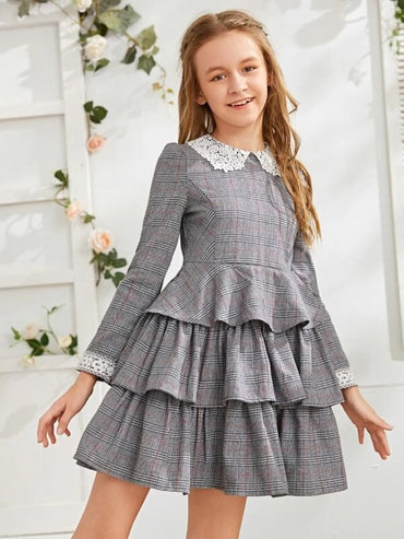 Girls Lace Trim Plaid Layered Riffle Dress