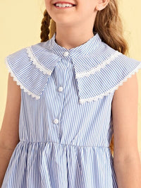 Girls Lace Trim Striped Dress