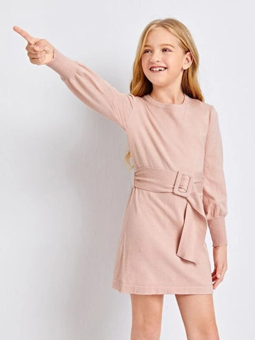 Girls Lantern Sleeve Buckle Belted Sweater Dress