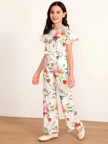 Girls Layered Flutter Sleeve Floral Print Belted Jumpsuit