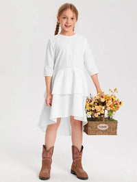 Girls Layered Hem Smock Dress