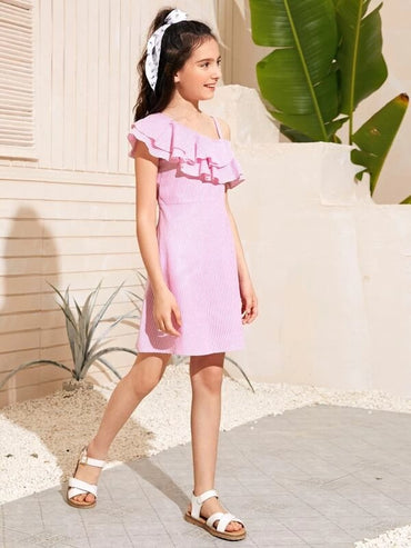 Girls Layered Ruffle Asymmetrical Shoulder Striped Dress