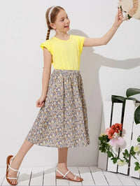 Girls Layered Sleeve Top & Ditsy Floral Skirt Set