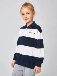 Girls Letter Embroidered Striped Pullover