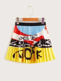 Girls Letter Graphic Colorblock Pleated Skirt