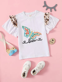 Girls Letter Graphic Ruffle Trim Tee