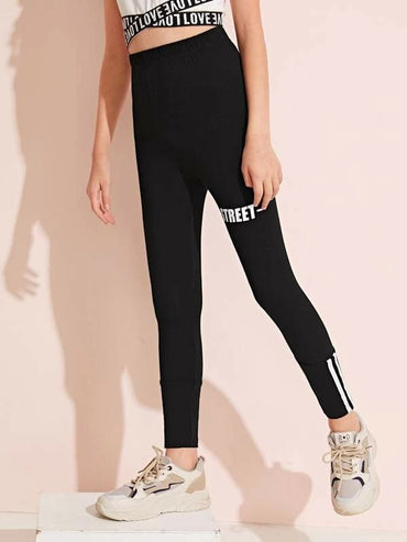 Girls Letter Graphic Tape Detail Leggings