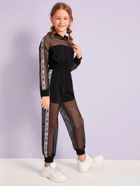 Girls Letter Tape Side Fishnet Insert Hoodie & Pants Set