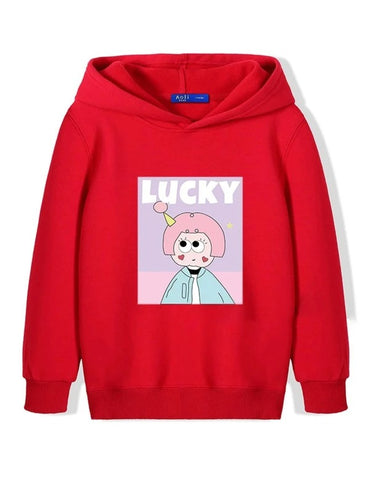 Girls Letter & Cartoon Graphic Hoodie