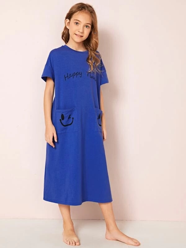 Girls Letter and Cartoon Graphic Pocket Patched Nightdress
