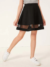 Girls Mesh Insert Flared Skirt