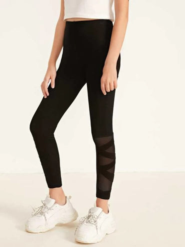 Girls Mesh Insert Solid Leggings