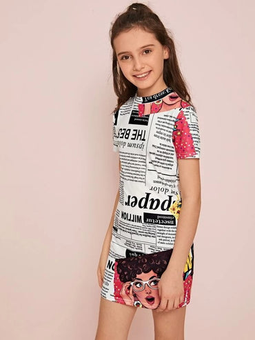 Girls Mock-neck Newspaper Print Dress