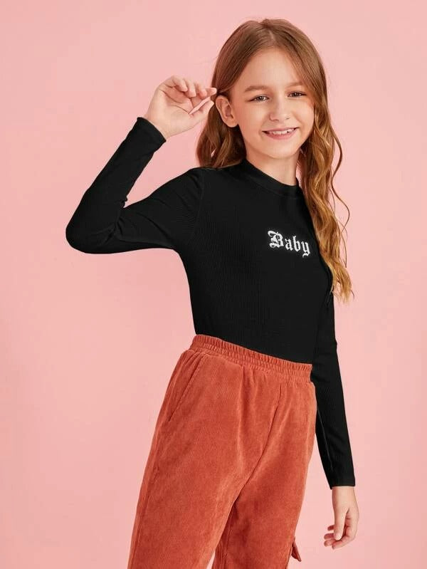 Girls Mock-neck Rib-knit Letter Graphic Tee