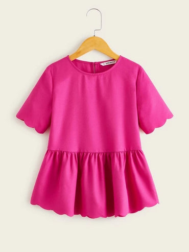 Girls Neon Pink Scallop Trim Smock Top