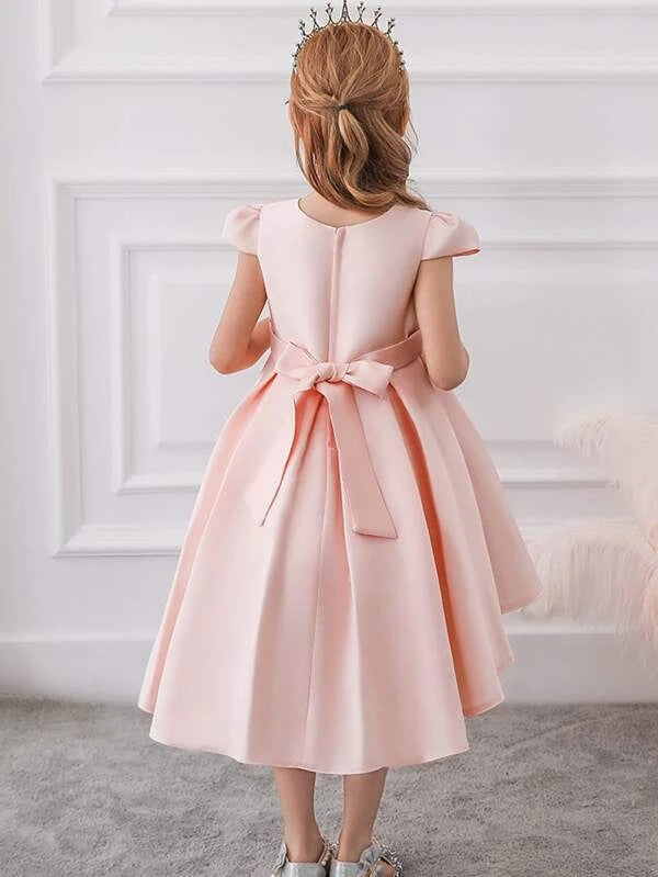 Girls Ombre Sequin Detail Big Bow Gown Dress