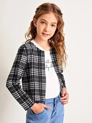 Girls Open Front Plaid Jacket