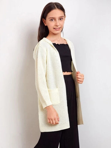 Girls Open Front Pocket Patched Pointelle Knit Hooded Cardigan