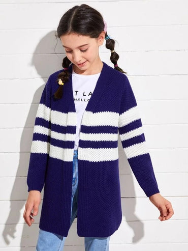 Girls Open Front Striped Cardigan