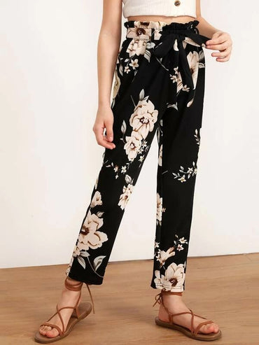 Girls Paperbag Waist Belted Floral Print Pants