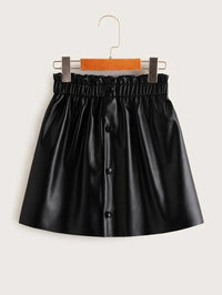Girls Paperbag Waist Button Front PU Skirt
