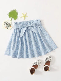 Girls Paperbag Waist Ditsy Floral Skirt
