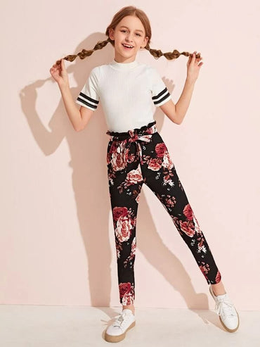 Girls Paperbag Waist Floral Print Pants