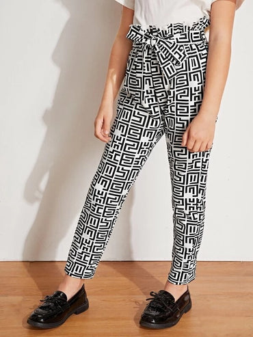 Girls Paperbag Waist Geo Print Pants