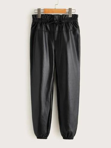 Girls Paperbag Waist Leather Look Pants