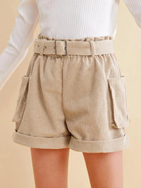 Girls Paperbag Waist Self Buckle Belted Cuffed Cord Shorts