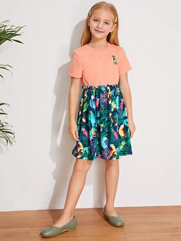 Girls Patched Detail Bird & Leaf Print Dress
