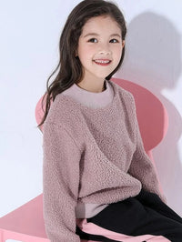 Girls Patched Teddy Sweatshirt