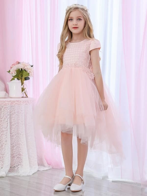 Girls Pearl Beaded Appliques High Low Tulle Party Dress