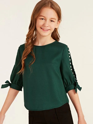 Girls Pearl Beaded Split Sleeve Knot Cuff Top