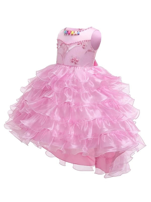 Girls Pearls Beaded Layered Organza Gown Dress