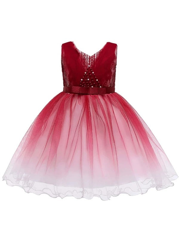 Girls Pearls Beaded Ombre Gown Dress