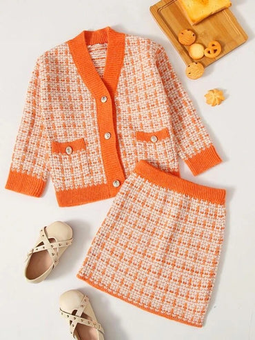 Girls Plaid Button Through Cardigan & Knit Skirt