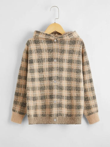 Girls Plaid Button Through Hooded Cardigan