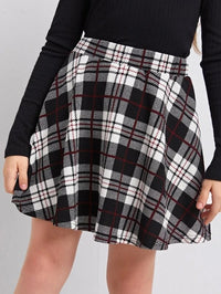Girls Plaid Flared Skirt