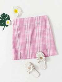 Girls Plaid M-Slit High-Rise Skirt