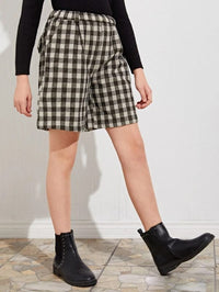 Girls Plaid Patched Straight Shorts