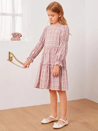 Girls Plaid Ruffle Hem Smock Dress
