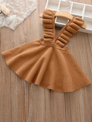 Girls Pleated Straps Ruffle Knit Suspender Skirt
