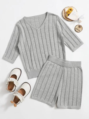 Girls Pointelle Knit Striped Sweater & Shorts