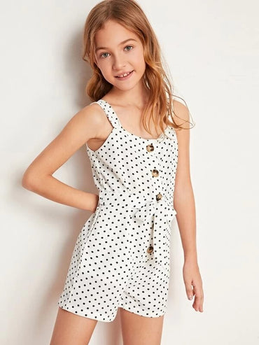 Girls Polka Dot Button Front Self Belted Romper
