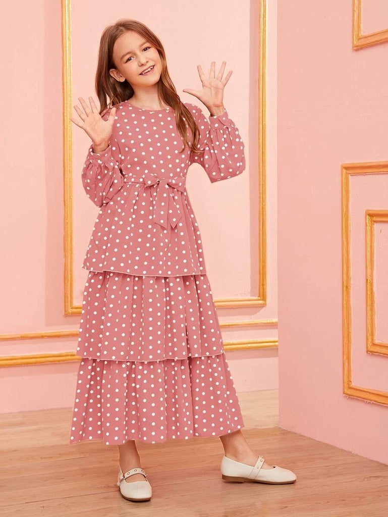 Girls Polka Dot Layered Ruffle Hem Belted Dress