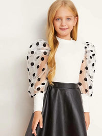 Girls Polka Dot Organza Leg-of-mutton Sleeve Top