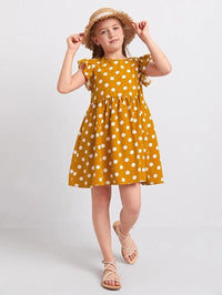 Girls Polka Dot Print Butterfly Sleeve Dress